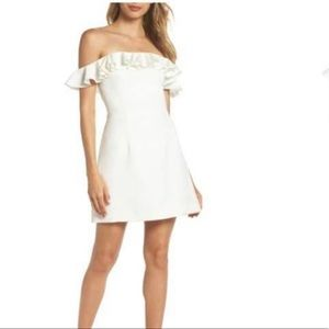 French Connection White Off the Shoulder Dress